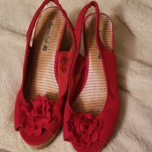 Red wedge shoes American eagle size 9